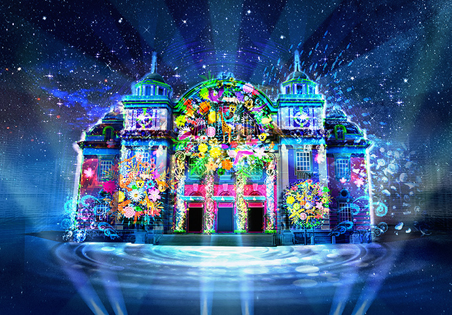 Projection Mapping on the walls of the Osaka City Central Public Hall